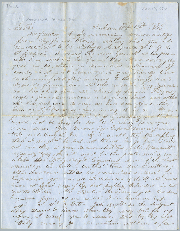 Capron, Eliab Wilkinson. Letter to Margaret Smith Fox.
