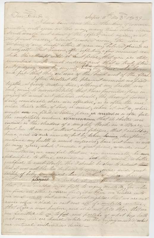Greene, Anna. Letter to Amy Kirby Post.