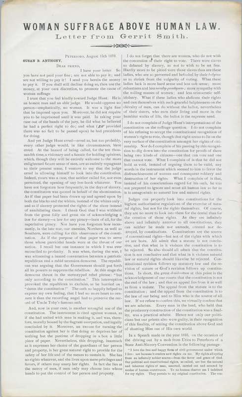 Letter from Gerrit Smith to Susan B. Anthony