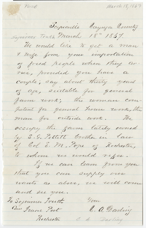 Darling, C. A. Letter to Sojourner Truth.