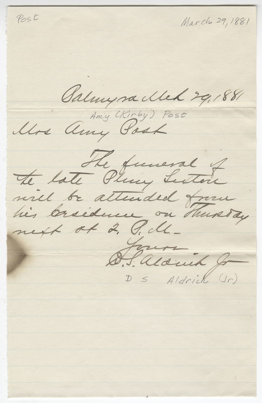 Aldrich Jr, D. S. Letter to Amy Kirby Post.