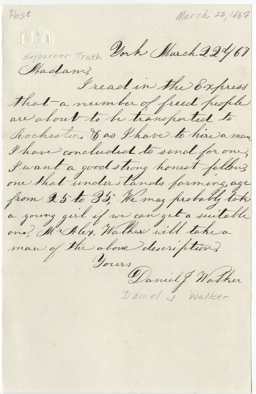 Walker, Daniel J. Letter to Sojourner Truth.