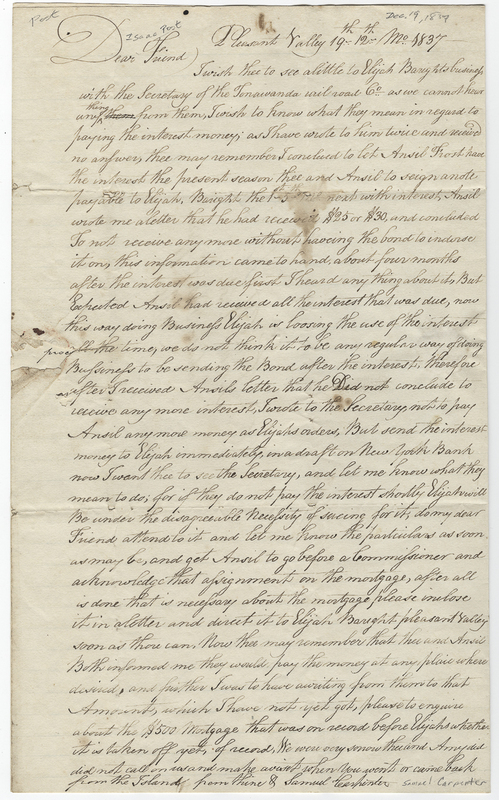 Carpenter, Samuel. Letter to Isaac Post.