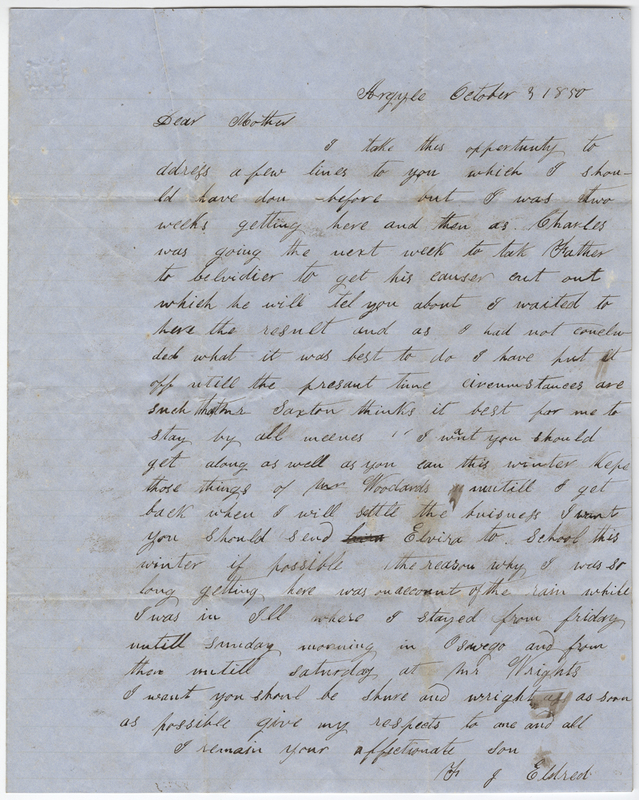 Eldred, F. Letter to C. Eldred.