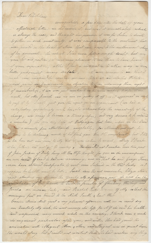Mott, Elizabeth. Letter to Amy Kirby Post.