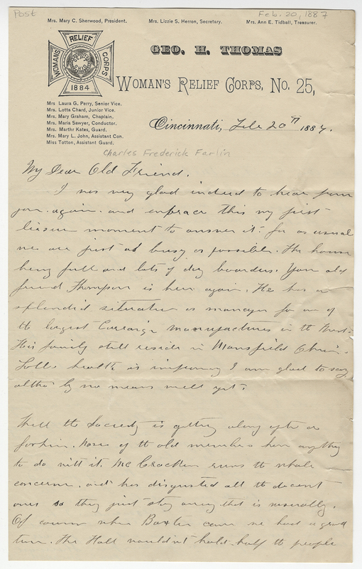 Sherwood, Mary C ?. Letter to Charles Frederick Farlin.