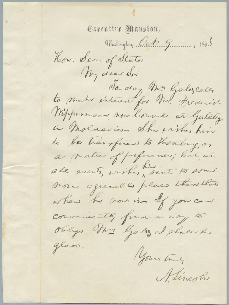 Note from Abraham Lincoln to William Henry Seward, October 9, 1863