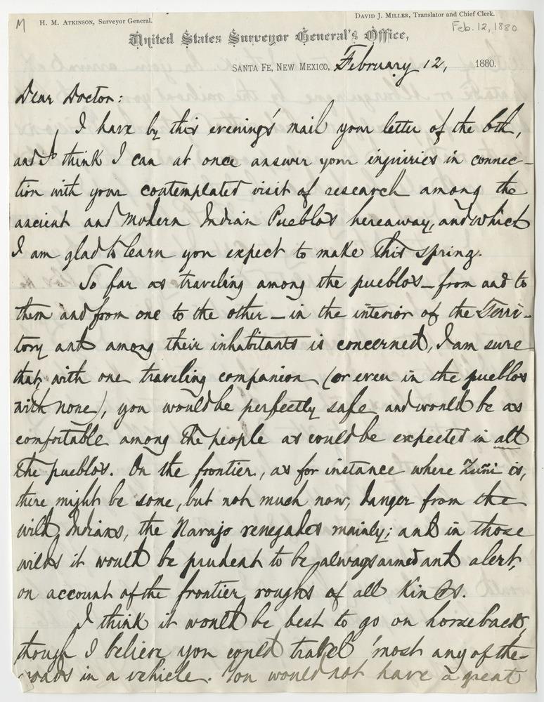Miller, David J. Letter to Lewis Henry Morgan (1880-02-12)