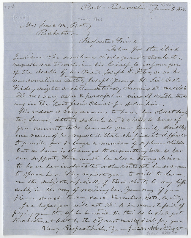 Wright, Asher. Letter to Isaac Post.