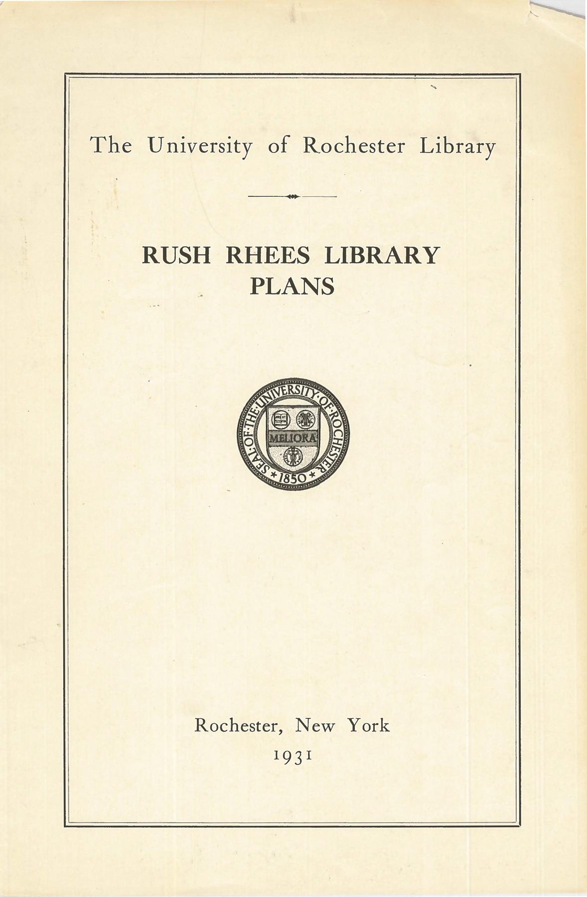 Rush Rhees Library: Floor plans (1931)