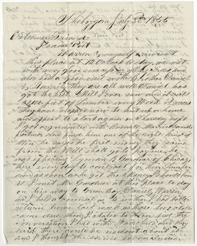 Burtis, Arthur. Letter to Isaac Post.