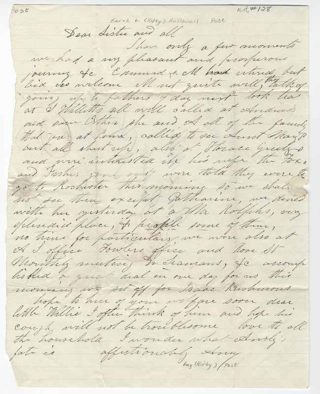 Post, Amy Kirby. Letter to Sarah L Kirby Hallowell? Willis.