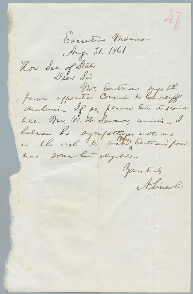 Note from Abraham Lincoln to William Henry Seward, August 30, 1861