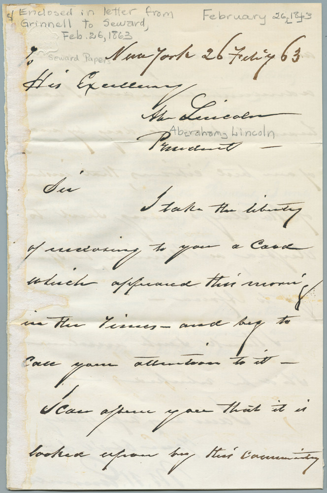 Letter from Moses Hicks Grinnell to Abraham Lincoln, February 26, 1863