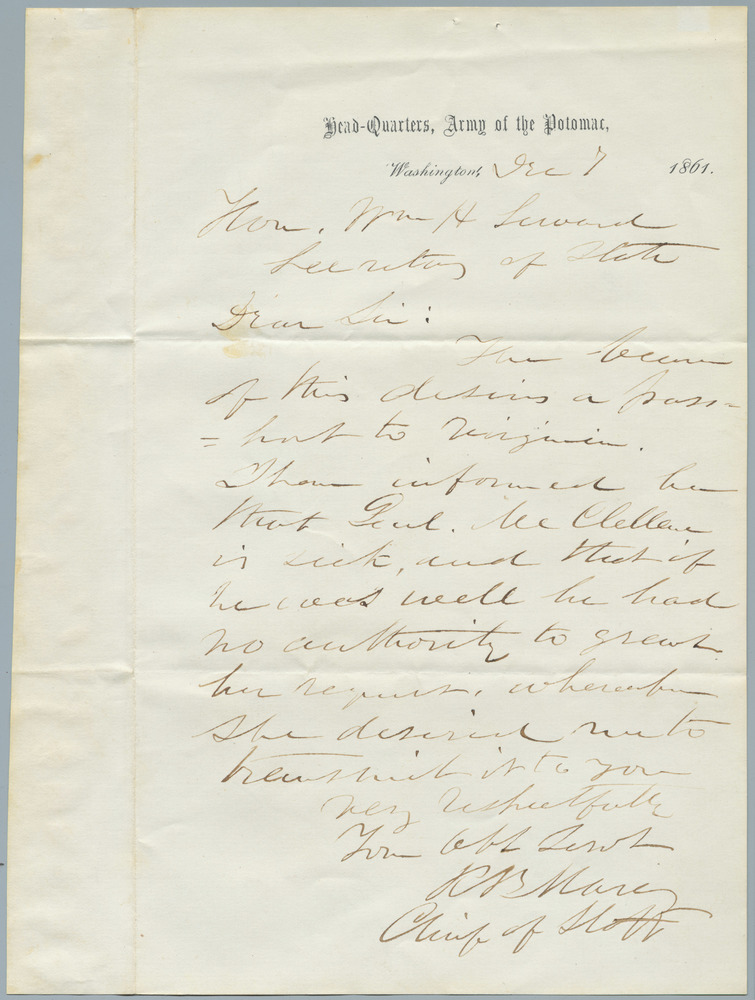 Note from R.B. Marcy to William Henry Seward, December 7, 1861
