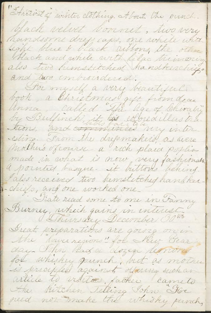 Diary entry from Fanny Seward, December 30, 1858