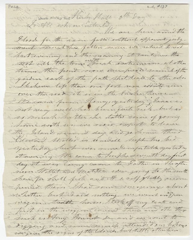 Post, Isaac. Letter to Jacob Kirby Post.
