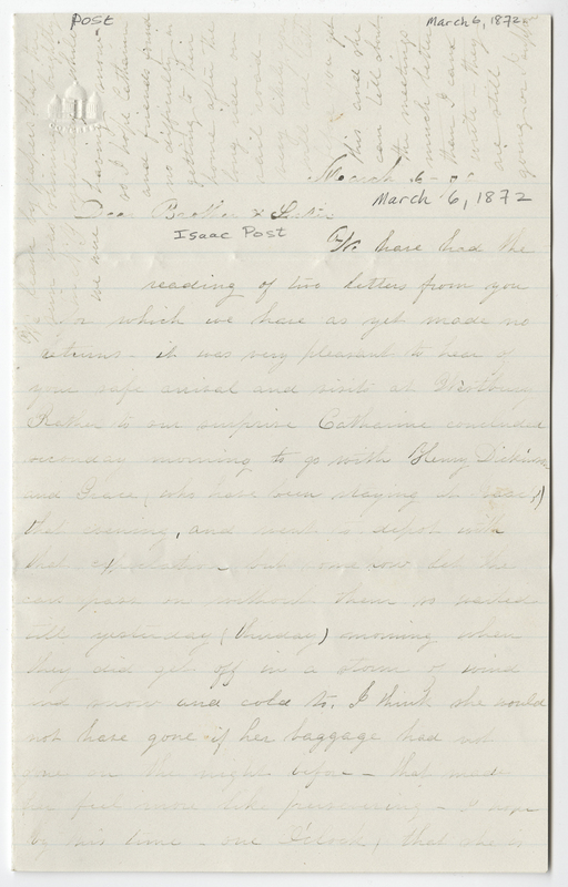 Willis, Sarah L Kirby Hallowell. Letter to Isaac Post.