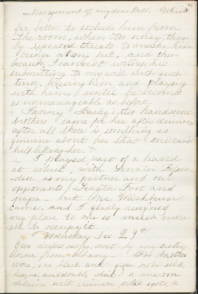 Diary entry from Fanny Seward, December 29, 1858