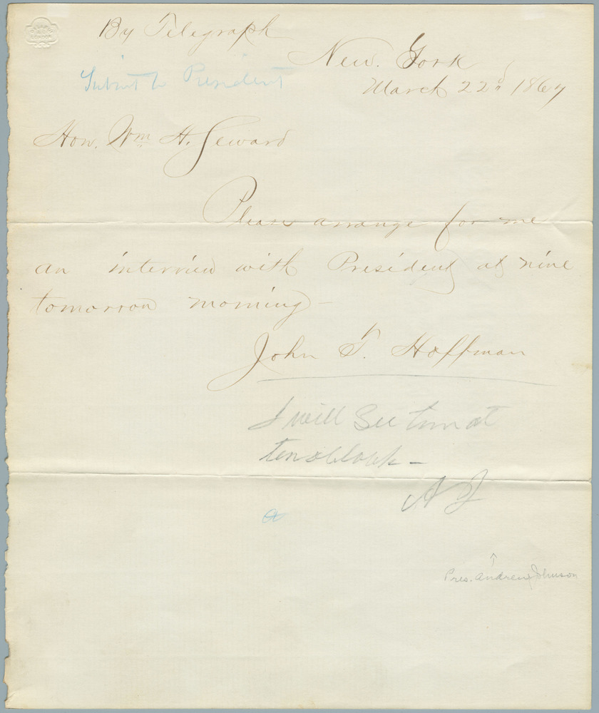 Telegraph note from John T. Hoffman to William Henry Seward, March 22, 1867