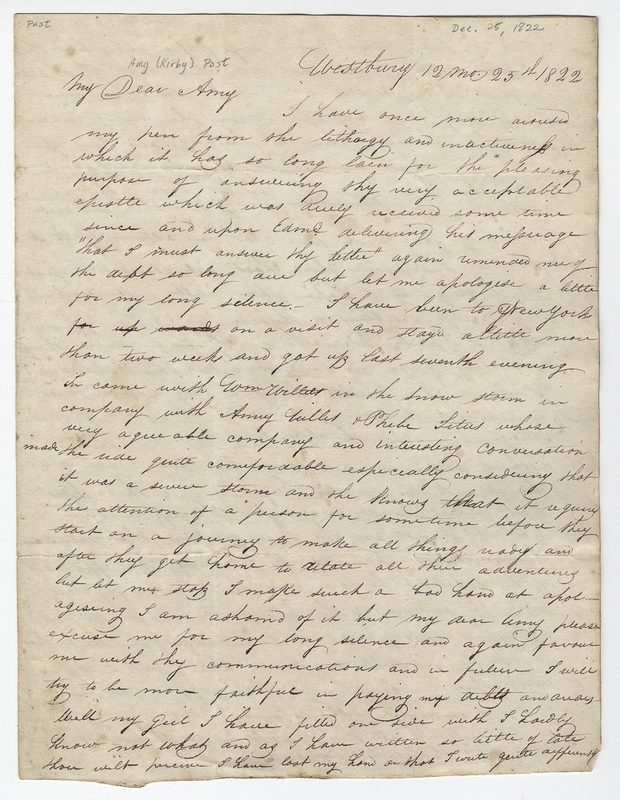 Willis, Phebe. Letter to Amy Kirby Post.