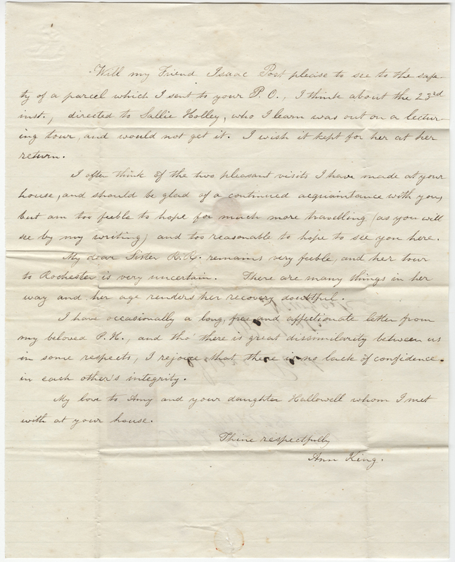 King, Ann. Letter to Isaac Post.