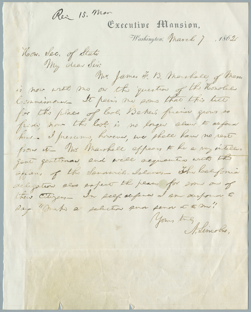 Letter from Abraham Lincoln to William Henry Seward, March 7, 1862