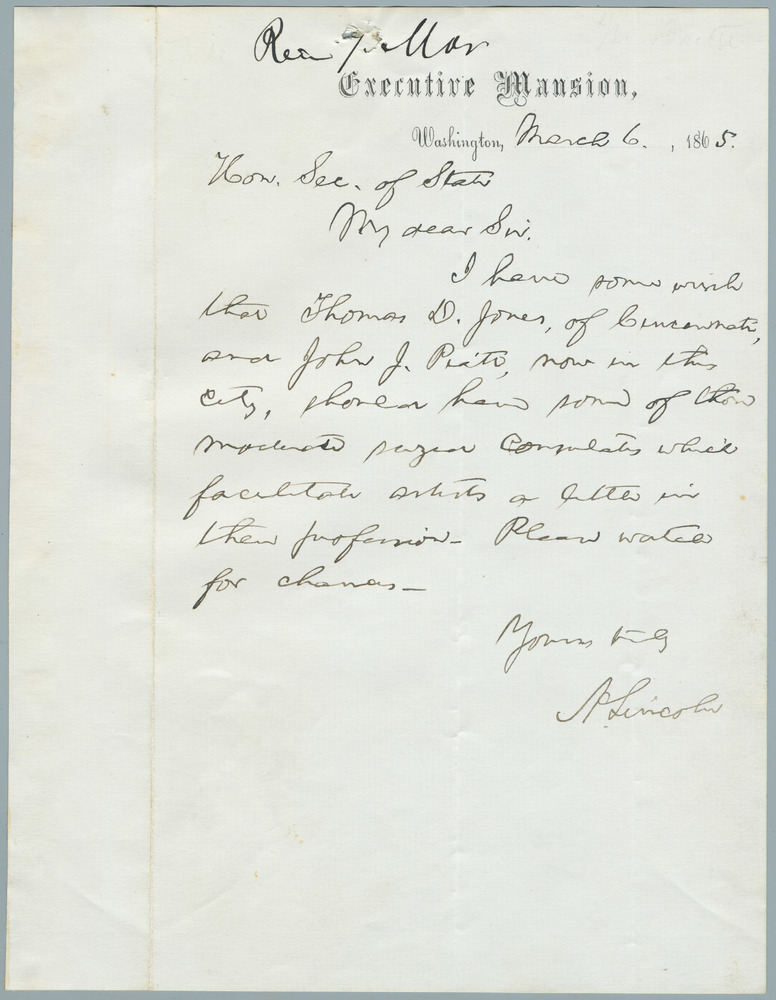 Note from Abraham Lincoln to William Henry Seward, March 6, 1865