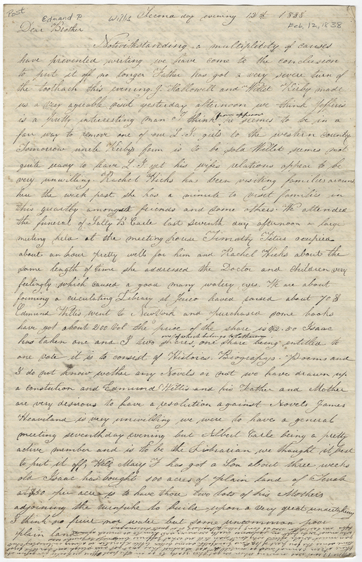 Willis, Samuel. Letter to Willis Edmund P.