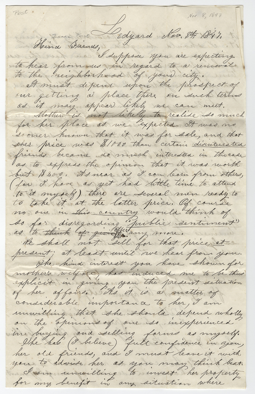 Collins, Henry. Letter to Isaac Post.