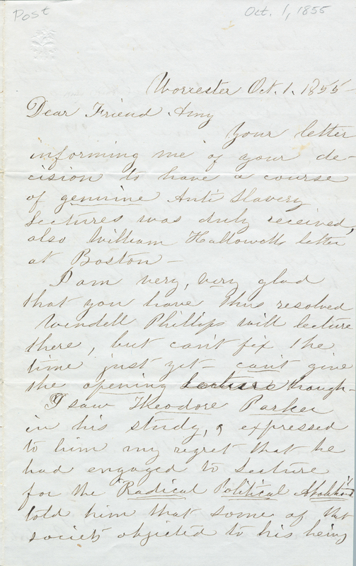 Letter from Susan B. Anthony to Amy Post, 1855