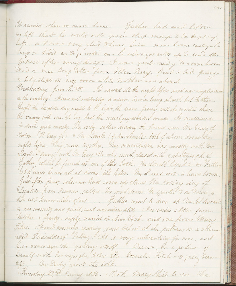 Diary entry from Fanny Seward, January 21, 1863