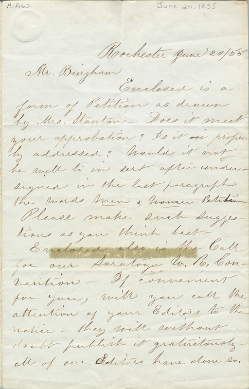 Letter from Susan B. Anthony to Mr. Bingham, June 20, 1855.