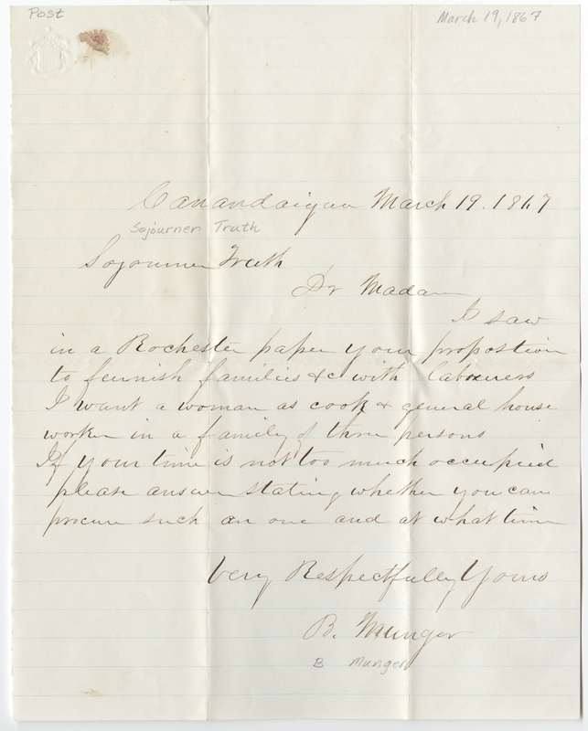 Munger, B. Letter to Sojourner Truth.