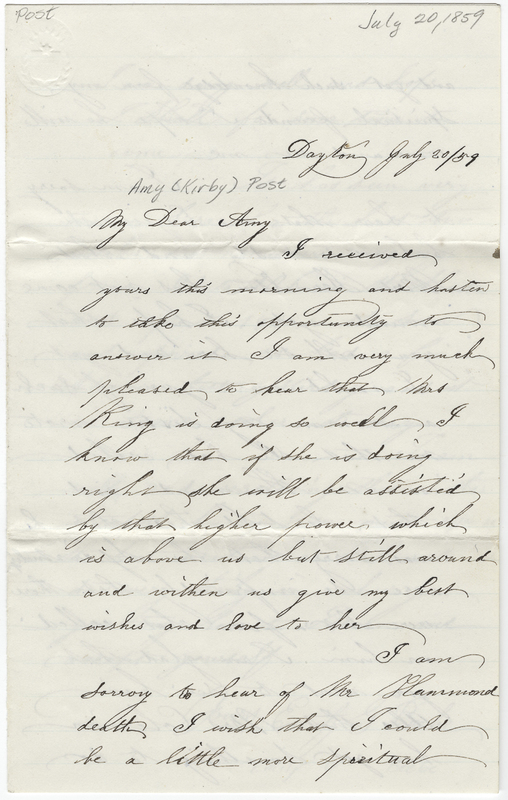 Beebe, Emily G. Letter to Amy Kirby Post.