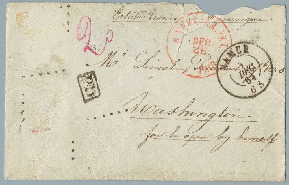 Letter from Madame Lamont Belgique de Give to Abraham Lincoln, 1863