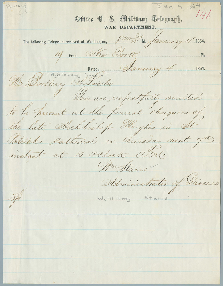 Letter from William Starrs to Abraham Lincoln, January 4, 1864