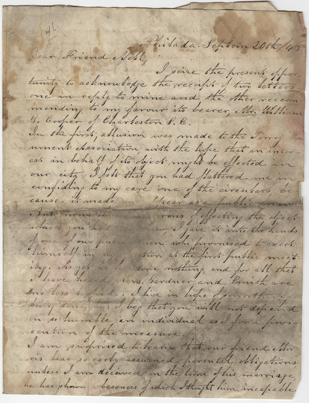 Unknown writer. Letter to William Cooper Nell.