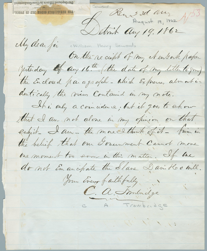 Letter from C.A. Trowbridge to William Henry Seward, August 19, 1862