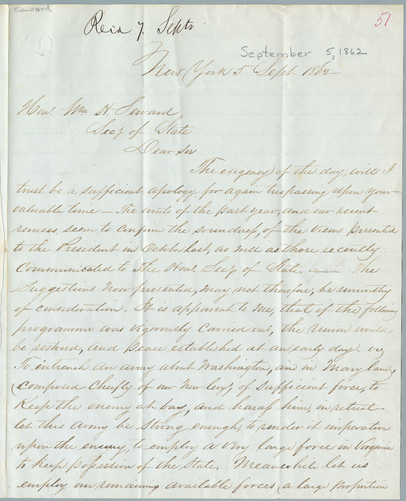 Letter from Francis Tryon to William Henry Seward, September 5, 1862