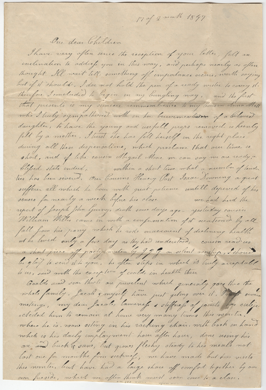 Unknown writer. Letter to Sarah L. Hallowell.