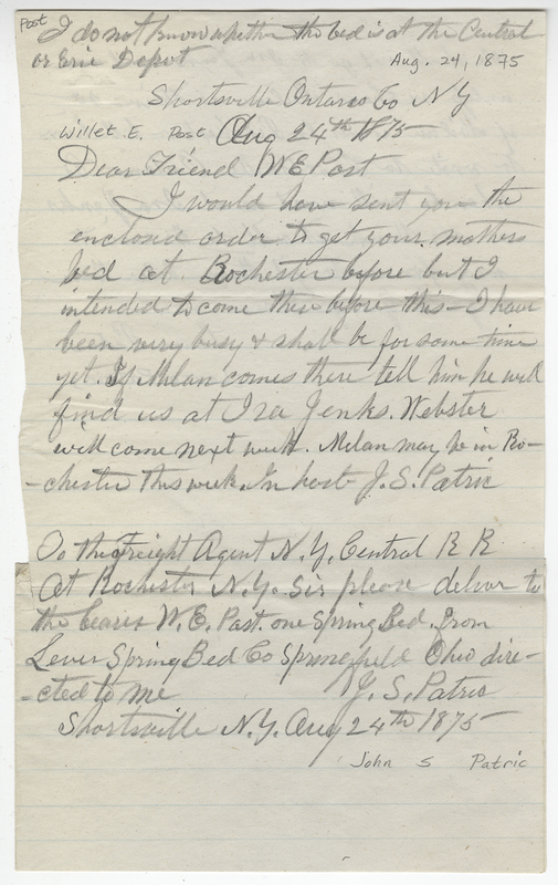 Patric, John S. Letter to Willet E Post.