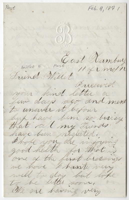 _____, Joseph ?. Letter to Willet E Post.