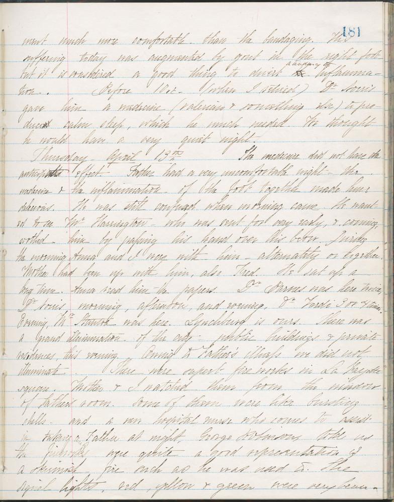 Diary entry from Fanny Seward, April 13, 1865