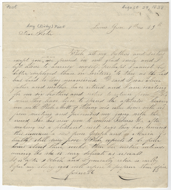 Willis, Sarah L Kirby Hallowell. Letter to Amy Kirby Post.