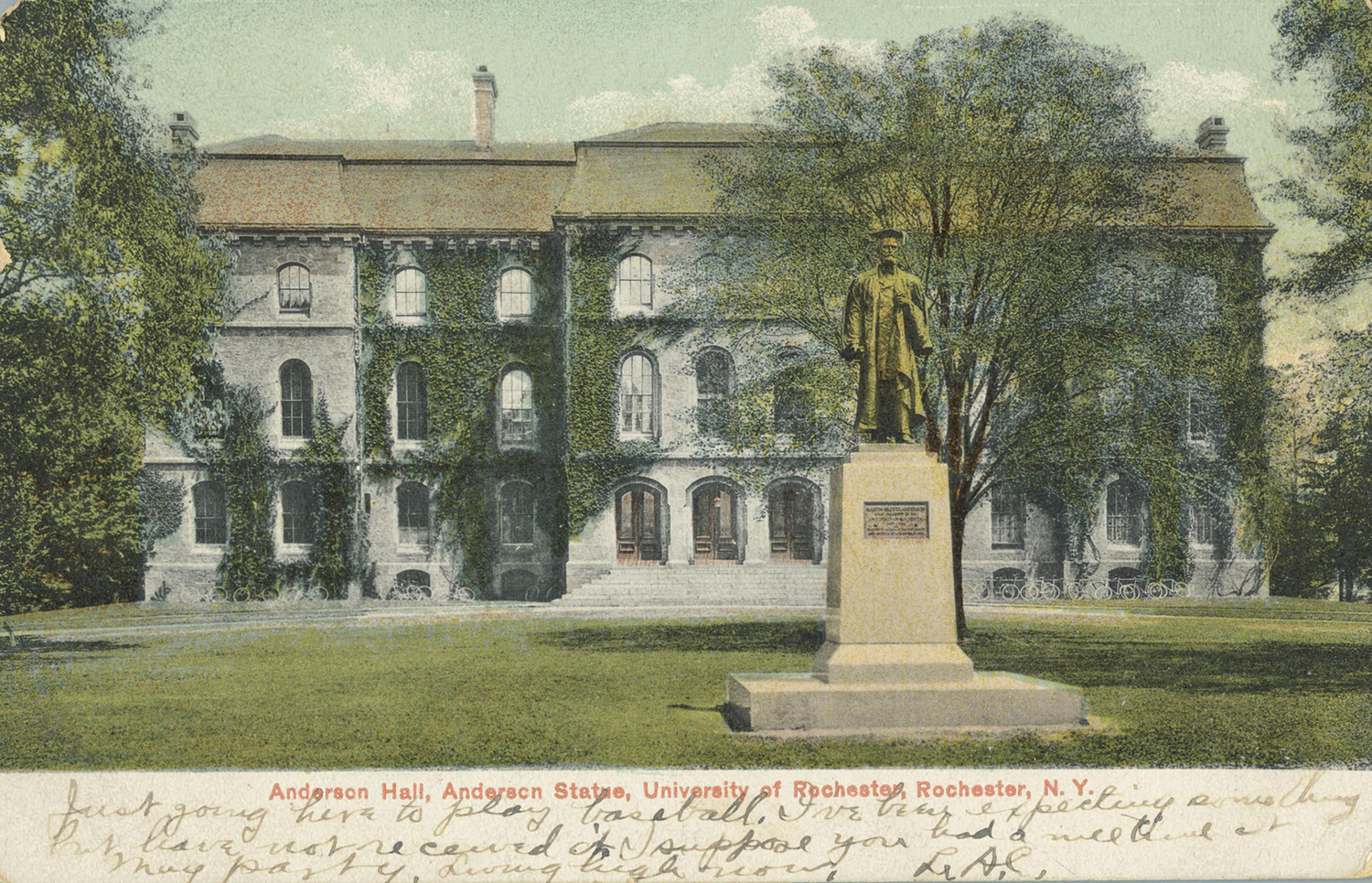 Anderson Hall, Anderson Statue, University of Rochester, Rochester, N.Y.