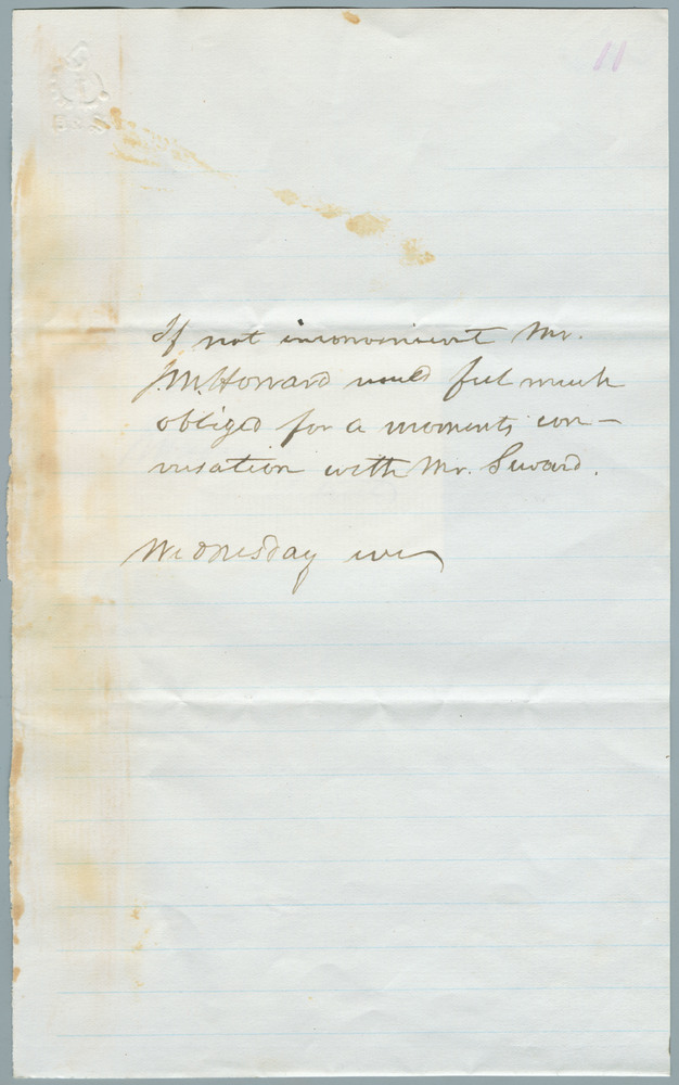 Note from J.W. Howard to William Henry Seward