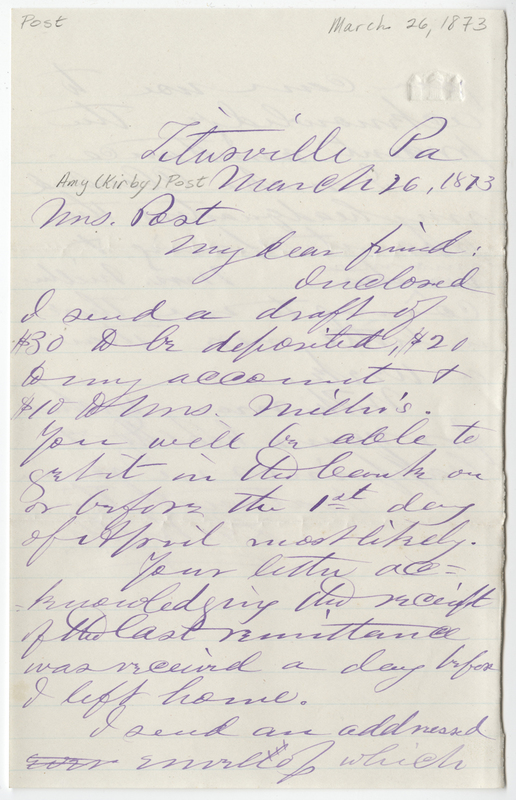 Miller, Leo. Letter to Amy Kirby Post.