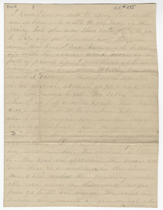 Thayer, Sarah E. Letter to unknown recipient.
