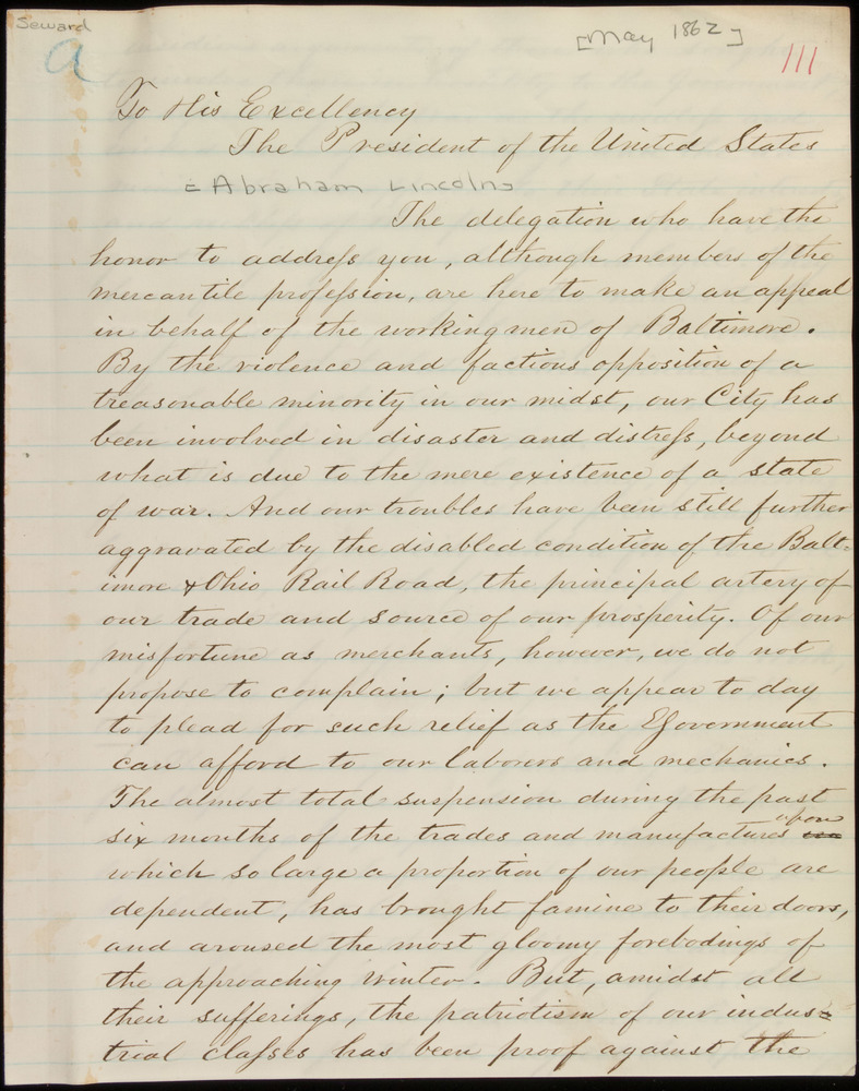 Letter from Enoch Pratt, et al., to Abraham Lincoln, May 1862